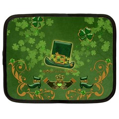 Happy St  Patrick s Day With Clover Netbook Case (large) by FantasyWorld7