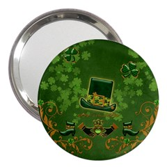 Happy St  Patrick s Day With Clover 3  Handbag Mirrors by FantasyWorld7