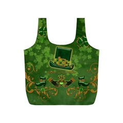 Happy St  Patrick s Day With Clover Full Print Recycle Bags (s)  by FantasyWorld7