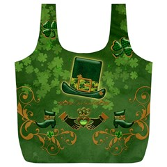 Happy St  Patrick s Day With Clover Full Print Recycle Bags (l)  by FantasyWorld7