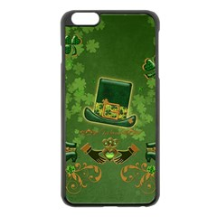 Happy St  Patrick s Day With Clover Apple Iphone 6 Plus/6s Plus Black Enamel Case by FantasyWorld7