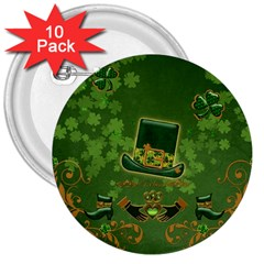 Happy St  Patrick s Day With Clover 3  Buttons (10 Pack)  by FantasyWorld7