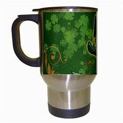 Happy St  Patrick s Day With Clover Travel Mugs (white) by FantasyWorld7