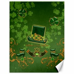 Happy St  Patrick s Day With Clover Canvas 12  X 16   by FantasyWorld7