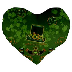Happy St  Patrick s Day With Clover Large 19  Premium Flano Heart Shape Cushions by FantasyWorld7
