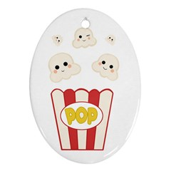 Cute Kawaii Popcorn Oval Ornament (two Sides) by Valentinaart