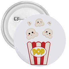 Cute Kawaii Popcorn 3  Buttons by Valentinaart