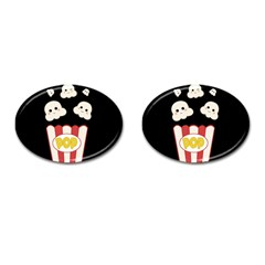 Cute Kawaii Popcorn Cufflinks (oval) by Valentinaart