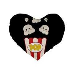 Cute Kawaii Popcorn Standard 16  Premium Heart Shape Cushions by Valentinaart