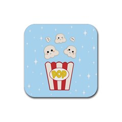 Cute Kawaii Popcorn Rubber Coaster (square)  by Valentinaart