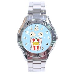 Cute Kawaii Popcorn Stainless Steel Analogue Watch by Valentinaart