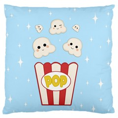 Cute Kawaii Popcorn Large Flano Cushion Case (two Sides) by Valentinaart