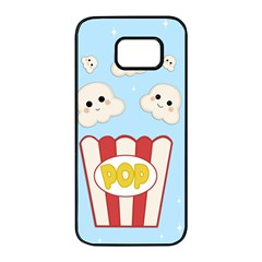 Cute Kawaii Popcorn Samsung Galaxy S7 Edge Black Seamless Case by Valentinaart