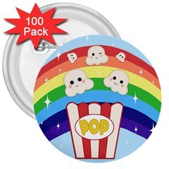 Cute Kawaii Popcorn 3  Buttons (100 Pack)  by Valentinaart