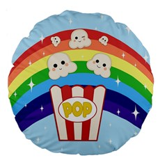 Cute Kawaii Popcorn Large 18  Premium Flano Round Cushions by Valentinaart
