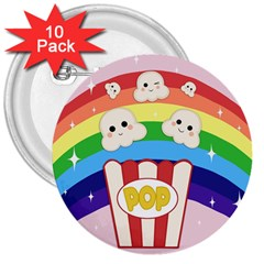 Cute Kawaii Popcorn 3  Buttons (10 Pack)  by Valentinaart