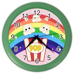 Cute Kawaii Popcorn Color Wall Clocks by Valentinaart
