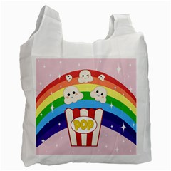 Cute Kawaii Popcorn Recycle Bag (one Side) by Valentinaart