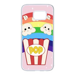Cute Kawaii Popcorn Samsung Galaxy S7 Edge White Seamless Case by Valentinaart