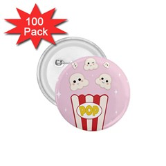 Cute Kawaii Popcorn 1 75  Buttons (100 Pack)  by Valentinaart