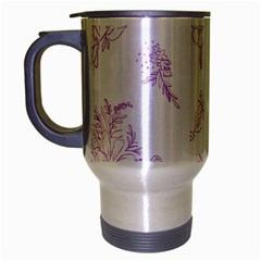 Beautiful,violet,floral,shabby Chic,pattern Travel Mug (silver Gray) by 8fugoso