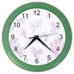 Beautiful,violet,floral,shabby Chic,pattern Color Wall Clocks by 8fugoso