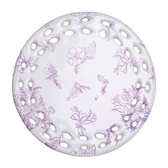 Beautiful,violet,floral,shabby Chic,pattern Round Filigree Ornament (two Sides) by 8fugoso