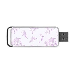 Beautiful,violet,floral,shabby Chic,pattern Portable Usb Flash (one Side) by 8fugoso