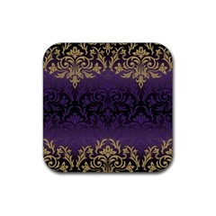 Art Nouveau,vintage,damask,gold,purple,antique,beautiful Rubber Coaster (square)  by 8fugoso