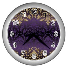 Art Nouveau,vintage,damask,gold,purple,antique,beautiful Wall Clocks (silver)  by 8fugoso