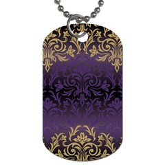 Art Nouveau,vintage,damask,gold,purple,antique,beautiful Dog Tag (one Side) by 8fugoso