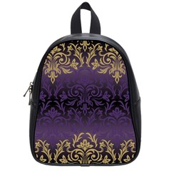 Art Nouveau,vintage,damask,gold,purple,antique,beautiful School Bag (small)