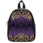 art nouveau,vintage,damask,gold,purple,antique,beautiful School Bag (Small) Front