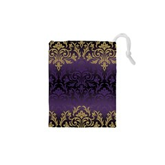 Art Nouveau,vintage,damask,gold,purple,antique,beautiful Drawstring Pouches (xs)  by 8fugoso