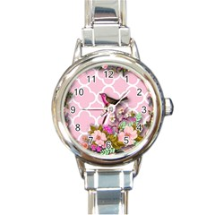 Shabby Chic, Floral,pink,birds,cute,whimsical Round Italian Charm Watch by 8fugoso