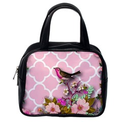 Shabby Chic, Floral,pink,birds,cute,whimsical Classic Handbags (one Side) by 8fugoso