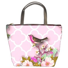 Shabby Chic, Floral,pink,birds,cute,whimsical Bucket Bags by 8fugoso