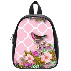 Shabby Chic, Floral,pink,birds,cute,whimsical School Bag (small) by 8fugoso