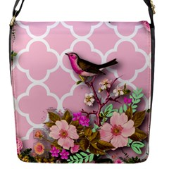 Shabby Chic, Floral,pink,birds,cute,whimsical Flap Messenger Bag (s) by 8fugoso