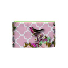Shabby Chic, Floral,pink,birds,cute,whimsical Cosmetic Bag (xs) by 8fugoso