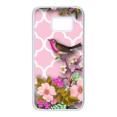 Shabby Chic, Floral,pink,birds,cute,whimsical Samsung Galaxy S7 White Seamless Case by 8fugoso