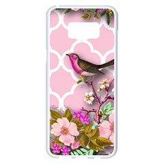 Shabby Chic, Floral,pink,birds,cute,whimsical Samsung Galaxy S8 Plus White Seamless Case