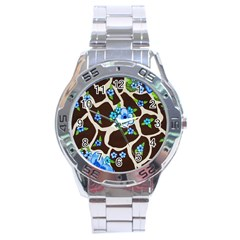 Floral Giraffe Print Stainless Steel Analogue Watch by dawnsiegler