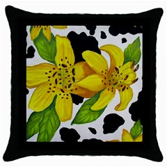 Floral Cow Print Throw Pillow Case (black)