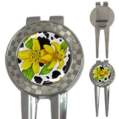 Floral Cow Print 3 In 1 Golf Divots by dawnsiegler