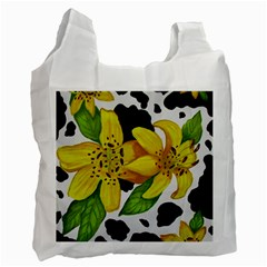 Floral Cow Print Recycle Bag (one Side) by dawnsiegler