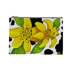 Floral Cow Print Cosmetic Bag (large)  by dawnsiegler