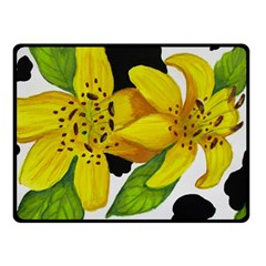 Floral Cow Print Fleece Blanket (small)