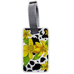 Floral Cow Print Luggage Tags (two Sides)