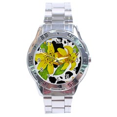 Floral Cow Print Stainless Steel Analogue Watch by dawnsiegler